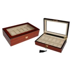 Barna fa óratároló doboz, 12 db-os