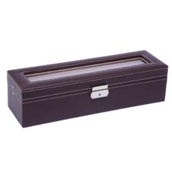 Barna bőr óratartó doboz, 6 db-os