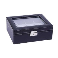 Fekete bőr óratároló doboz, 8 db-os