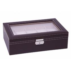 Barna bőr óratartó doboz, 10 db-os