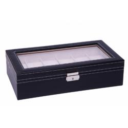 Fekete bőr óratároló doboz, 12 db-os