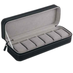 Cipzáros bőr óratartó doboz, 6 db-os