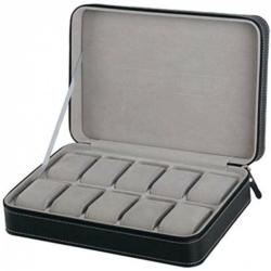 Cipzáros bőr óratartó doboz, 10 db-os