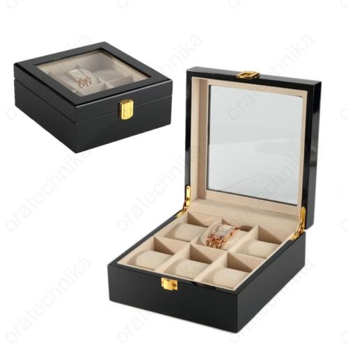 Fa óratartó doboz lakkfekete 6 db-os