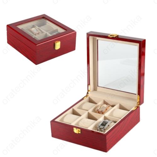 Fa óratartó doboz cseresznye 6 db-os