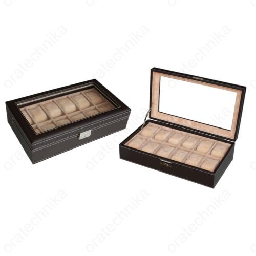 Barna bőr óratároló doboz, 12 db-os