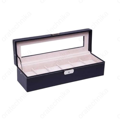 Fekete bőr óratároló doboz, 6 db-os