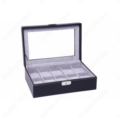 Fekete bőr óratároló doboz, 10 db-os