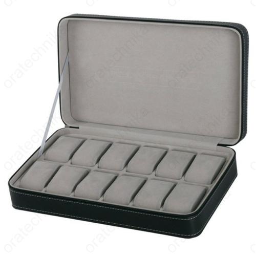 Cipzáros bőr óratartó doboz, 12 db-os